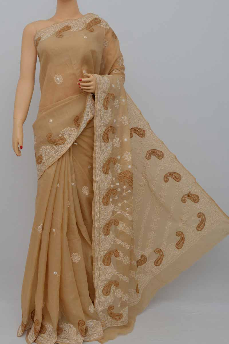 Tortilla Color Hand Embroidered Lucknowi Chikankari Saree (with Blouse - Cotton) Kc250433