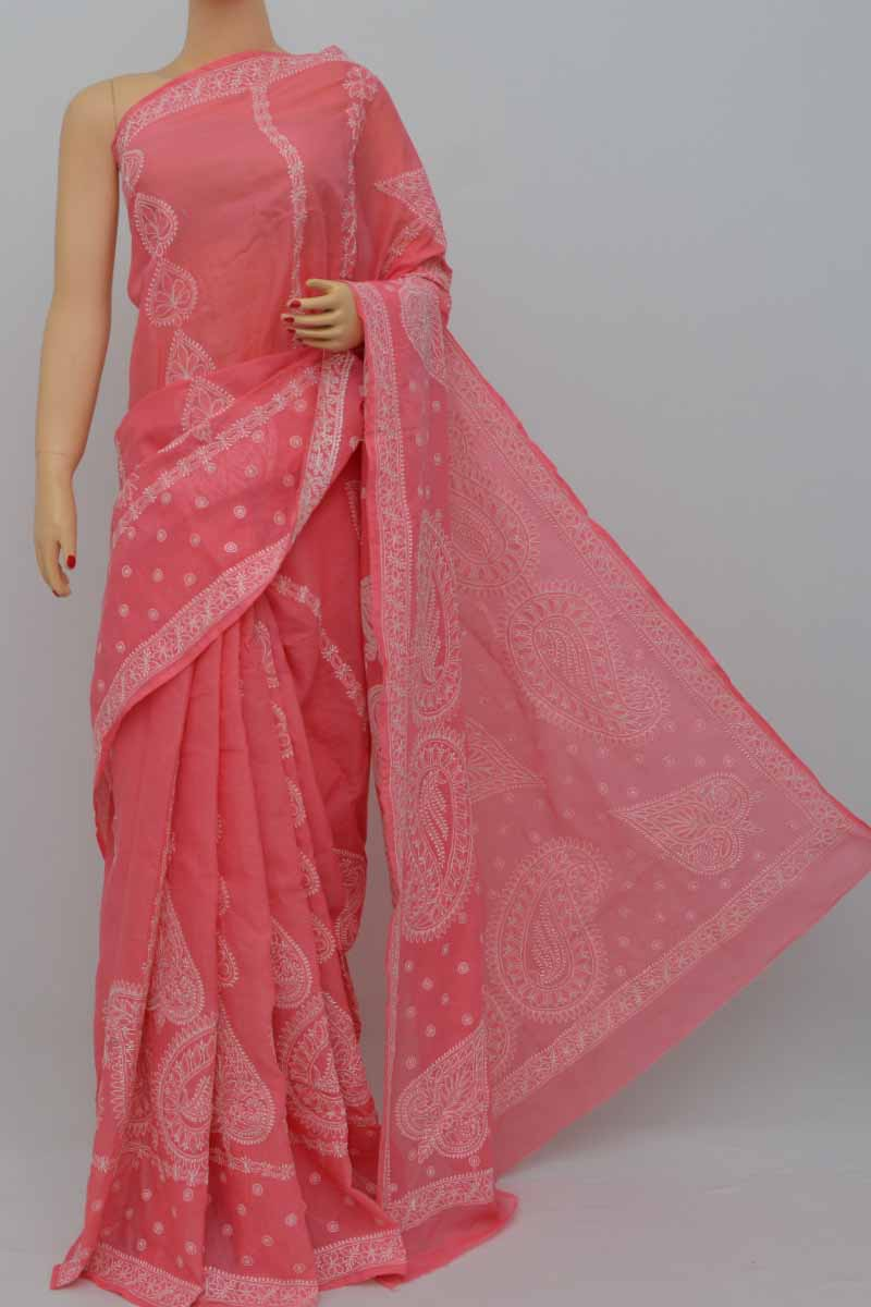 Coralpink Color Hand Embroidered Lucknowi Chikankari Saree (With Blouse - Cotton) KC250435