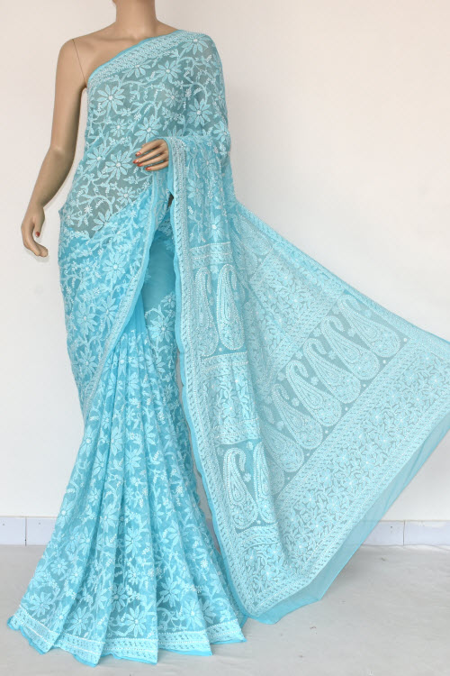 Blue Hand Embroidered Lucknowi Chikankari Saree (Georgette-With Blouse) 14845