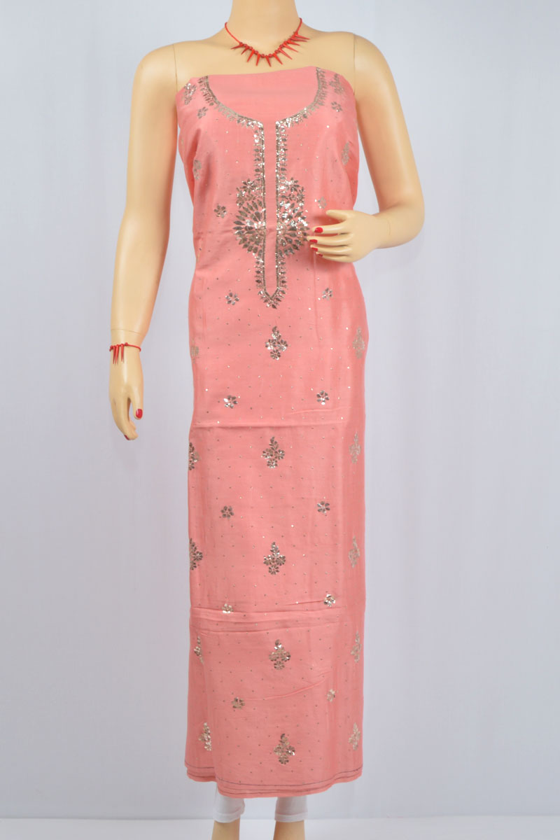 Peach Color Mukaish Work Hand Embroidered Lucknowi Chikankari Kurti (Chanderi Cotton) - MCK400026