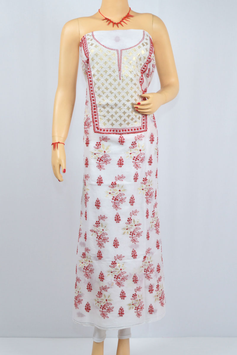 White Color- Red Thread Hand Embroidered Lucknowi Chikankari Kurti (Cotton) - MCK400022