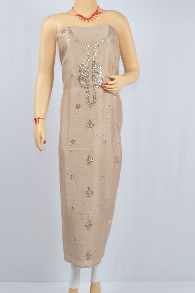 Wooden Color Mukaish Work Hand Embroidered Lucknowi Chikankari Kurti (Chanderi Cotton) - MCK400027