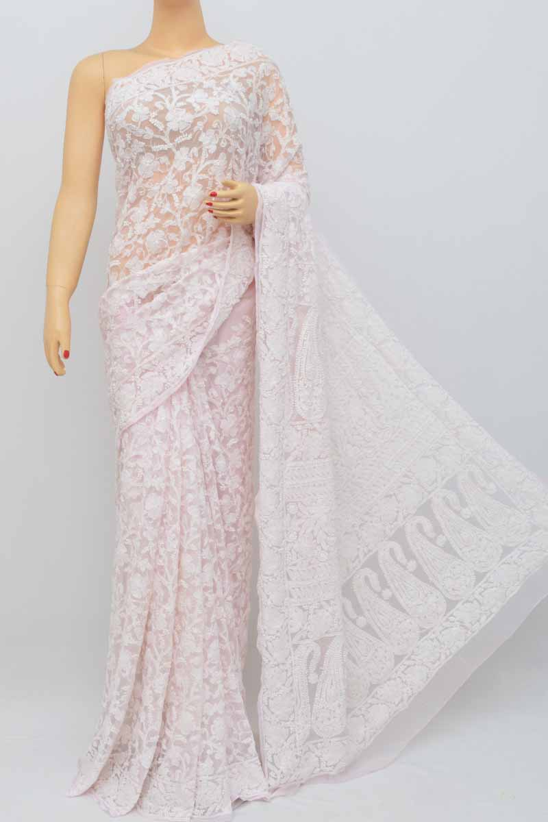 Baby Pink Colour Allover Heavy Palla Hand Embroidered Lucknowi Chikankari Saree (With Blouse - Georgette) SS250466