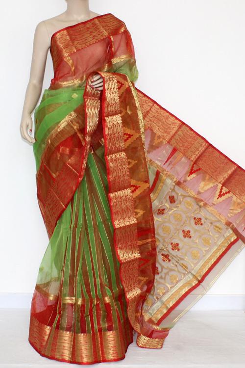 86deeb6d8f Green Red Handwoven Bengal Tant Kora Cotton Jamdani Saree (Without Blouse)  17092