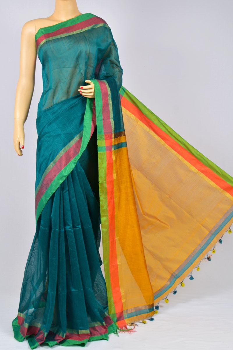c00fc16f94 Teal Green Color Soft Dhakai Jamdani Handwoven Bengal Handloom Kora Normal  Silk Saree (Without Blouse