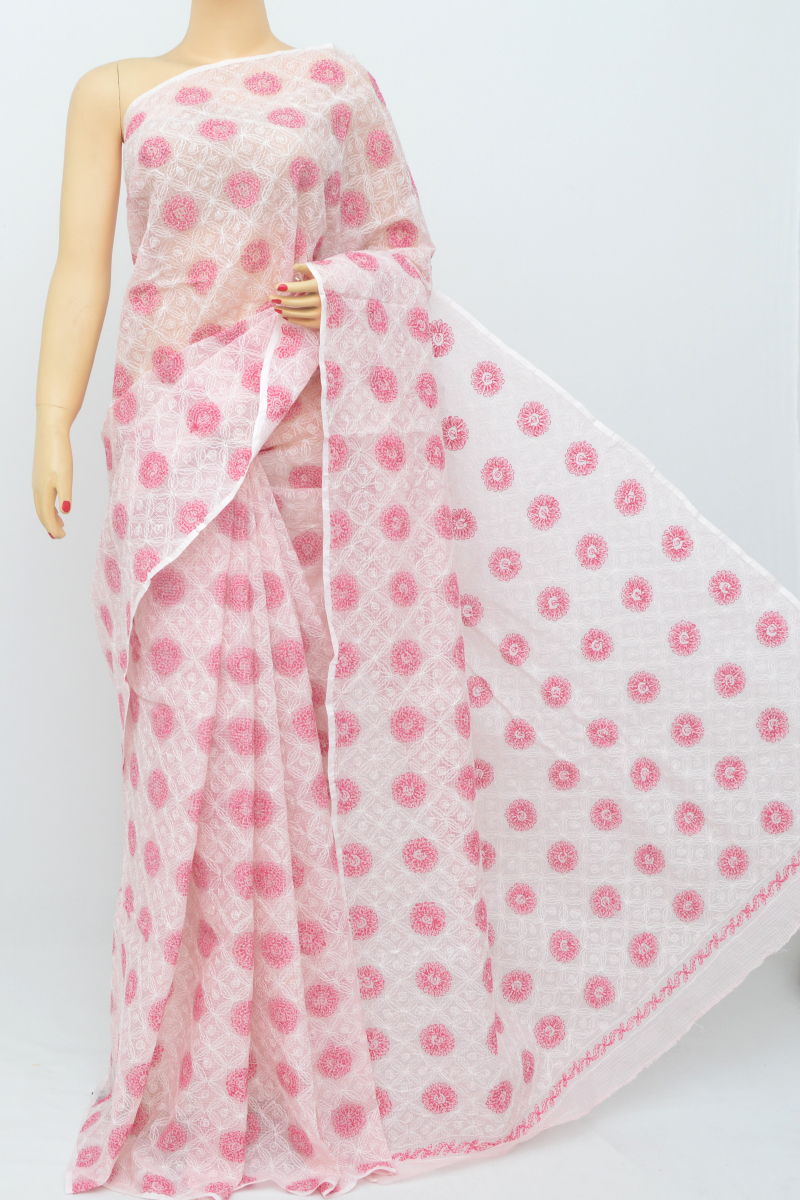 Pink Color Multi Thread Hand Embroidered Lucknowi Chikankari Saree (Without Blouse) SS250525