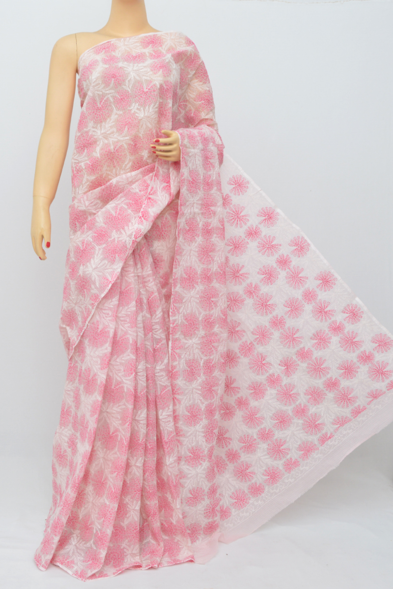 Pink Color Multi Thread Hand Embroidered Lucknowi Chikankari Saree (Without Blouse) SS250526