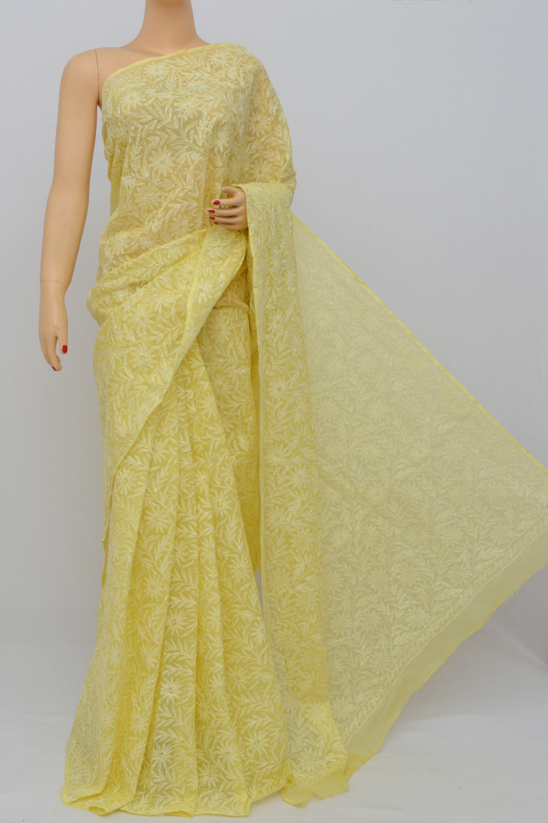 Yellow Color Kota Cotton Tepchi Work Hand Embroidered Lucknowi Chikankari Saree (Without Blouse) MC250530