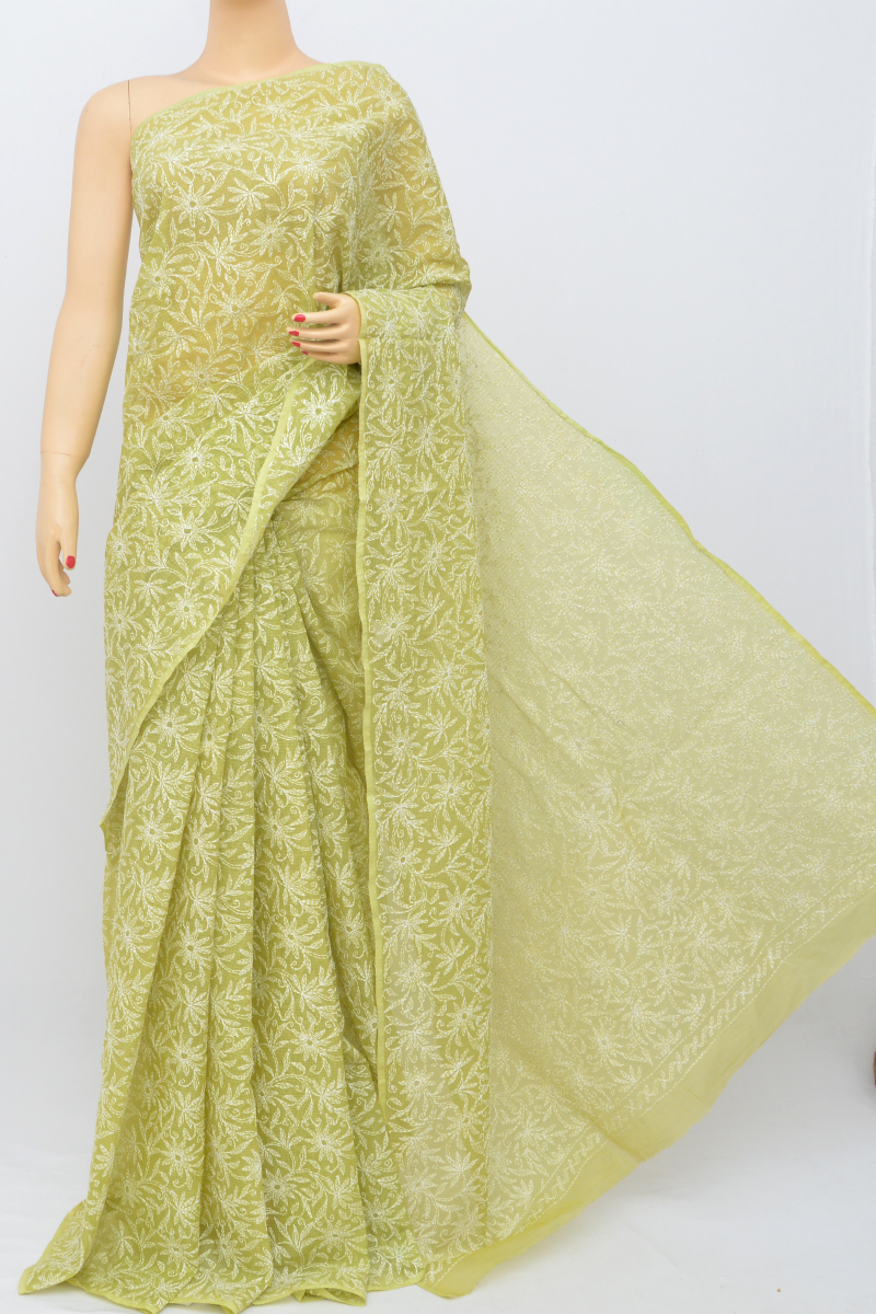 Green Color Kota Cotton Tepchi Work Hand Embroidered Lucknowi Chikankari Saree (Without Blouse) SS250532