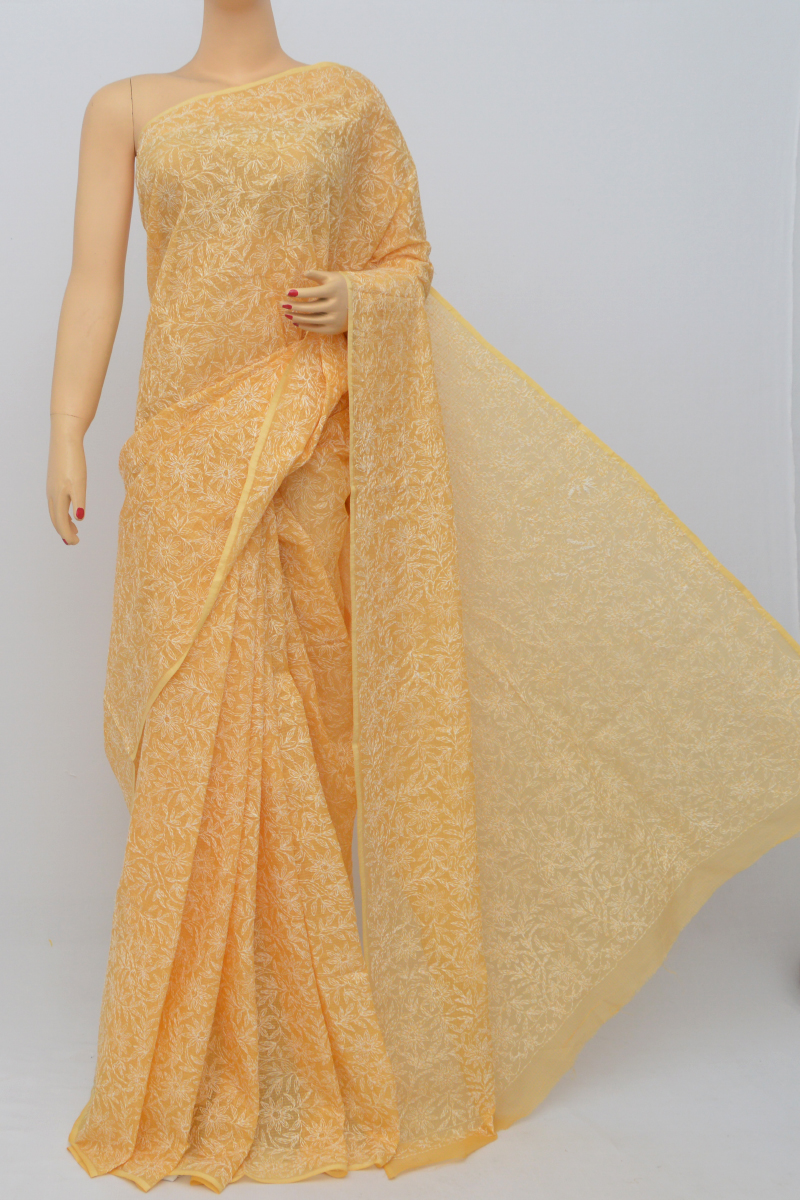 Orange Color Kota Cotton Tepchi Work Hand Embroidered Lucknowi Chikankari Saree (Without Blouse) SM250533