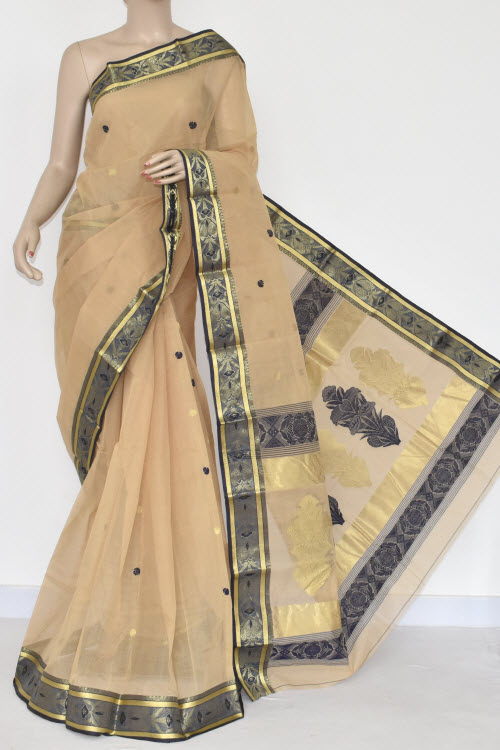 Fawn Handwoven Bengal Tant Cotton Saree (Without Blouse) 17107