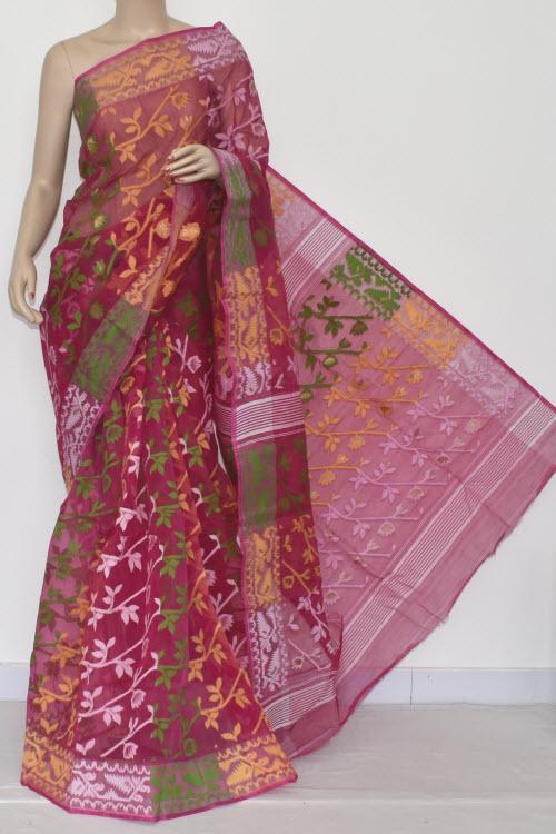 e9609ab218 Rani Pink Handwoven Bengali Tant Kora Cotton Jamdani Saree (Without Blouse)  Temple Border 17221