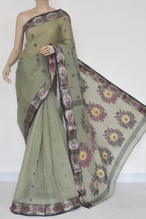 Greyish Green Handwoven Bengal Tant Cotton Saree (Without Blouse) 17232
