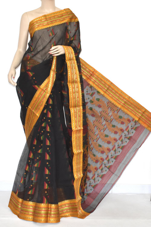 ca912f4979d15 Black Handwoven Bengali Tant Cotton Jamdani Saree (Without Blouse) 17349