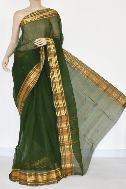 2e751ddcfa Bottle Green Handwoven Bengal Tant Cotton Saree (Without Blouse) 17377
