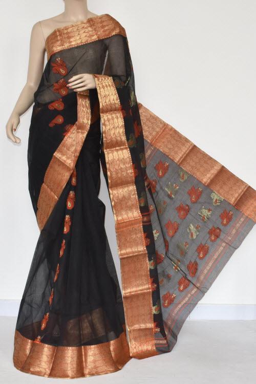 Black Handwoven Bengal Tant Cotton Saree (Without Blouse) 17383