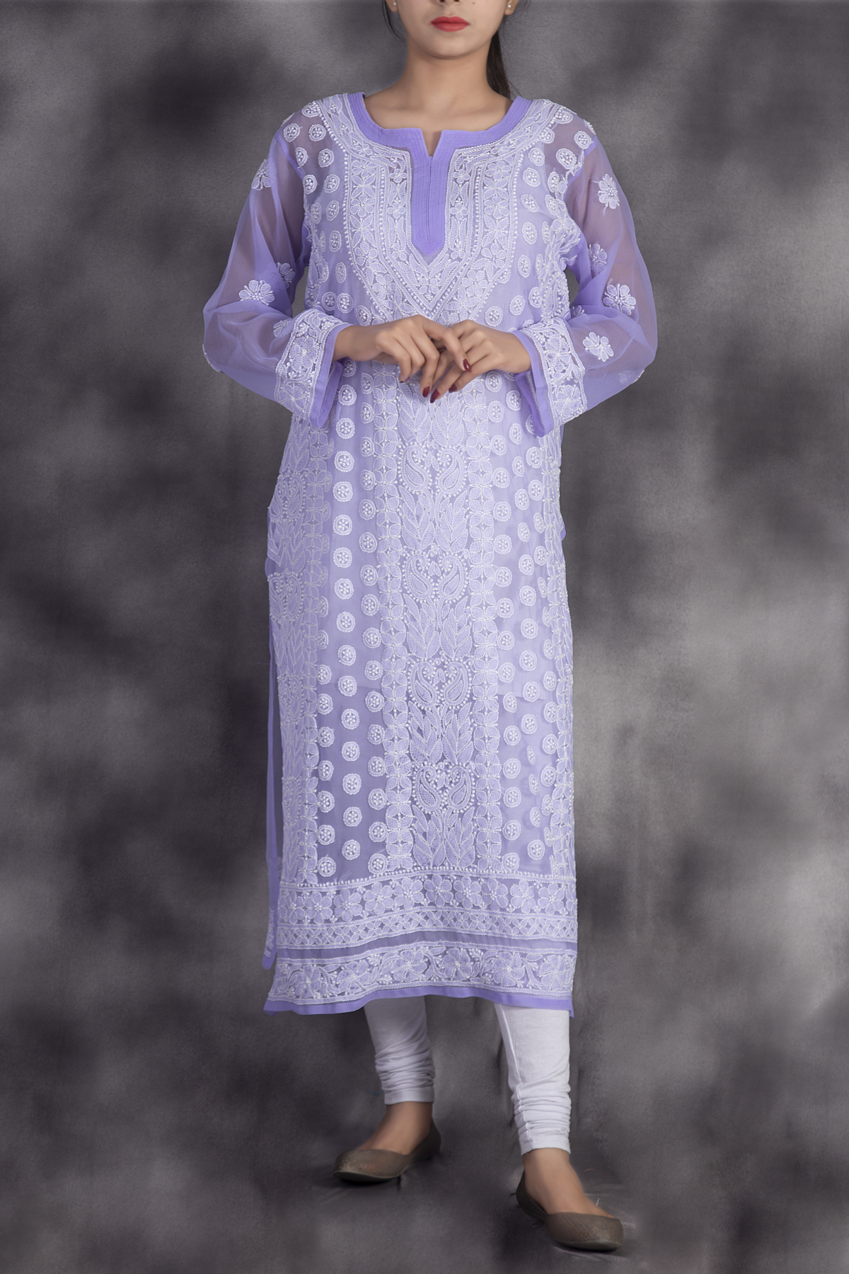 Hand Embroidered Lavender Georgette Lucknowi Chikan Kurti-GA250633