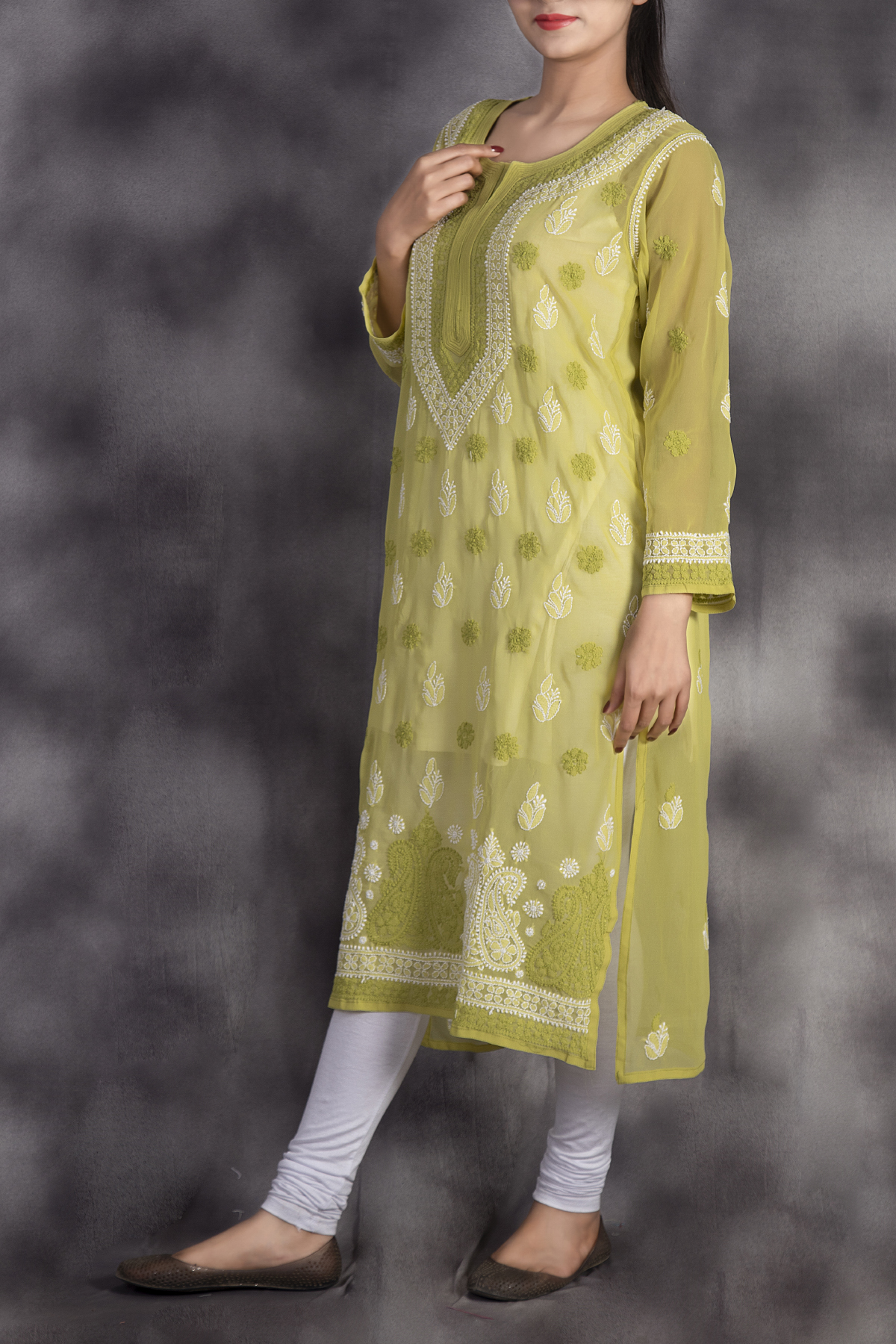 Hand Embroidered Green Georgette Lucknowi Chikan Kurti-GA250634