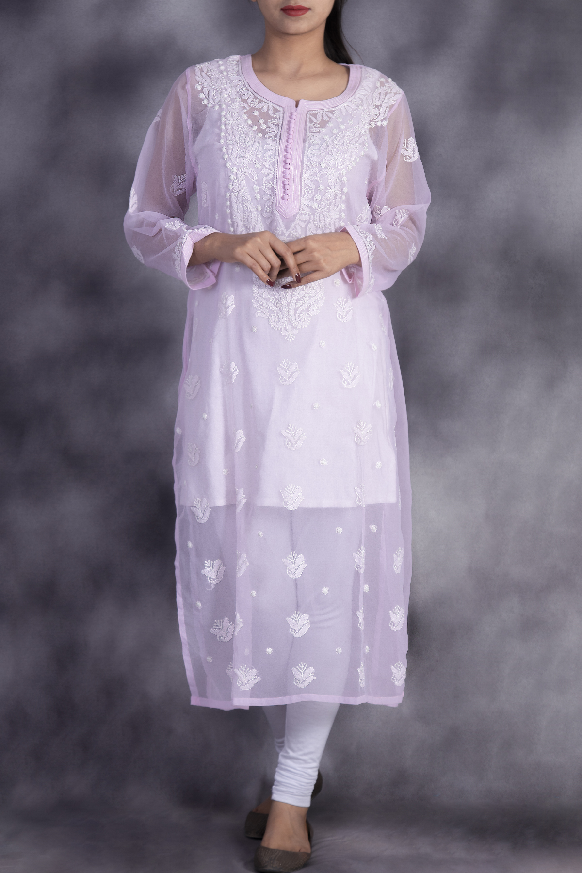 Hand Embroidered Pink Georgette Lucknowi Chikan Kurti-GA250635