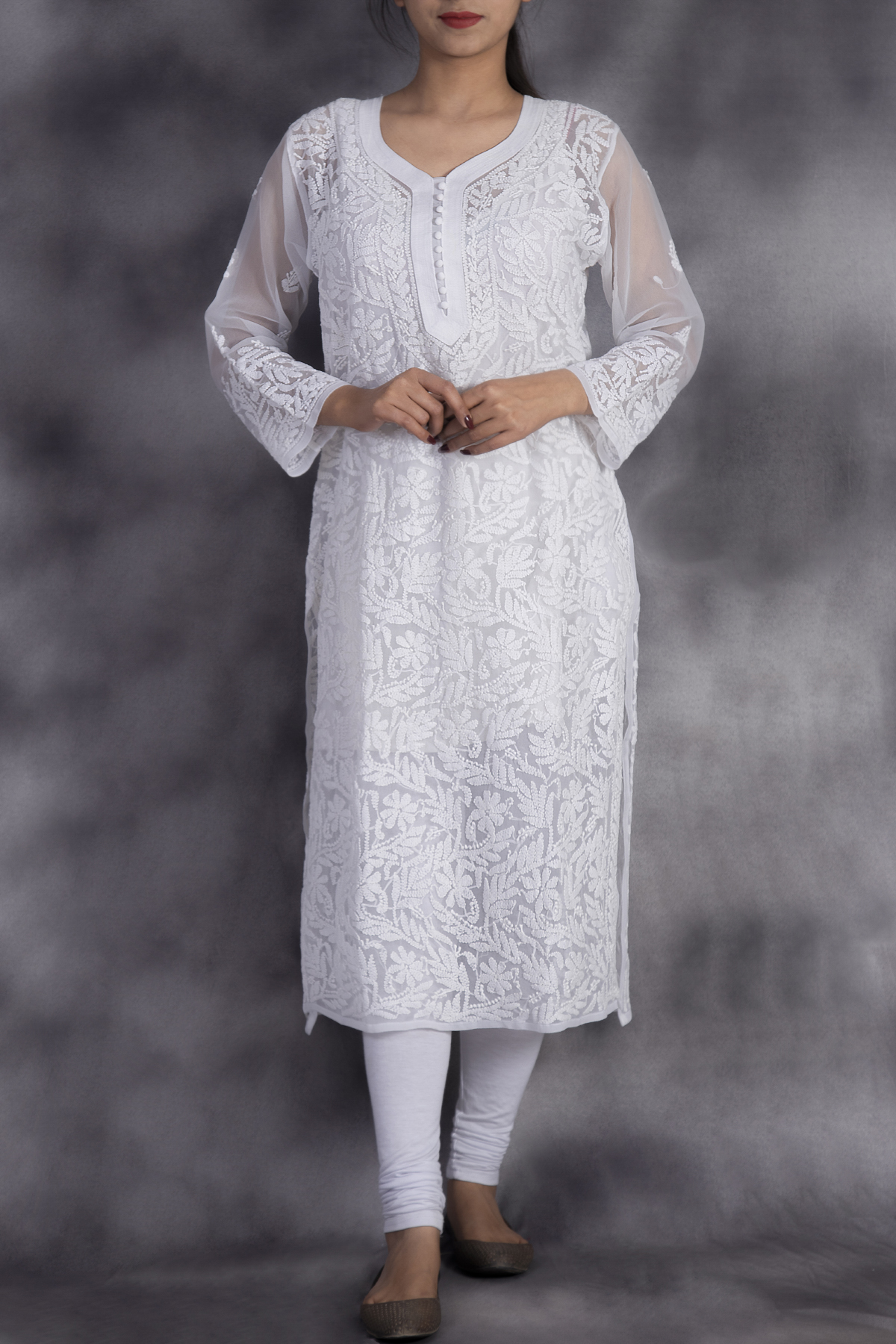 Hand Embroidered White Georgette Lucknowi Chikan Kurti-GA250637