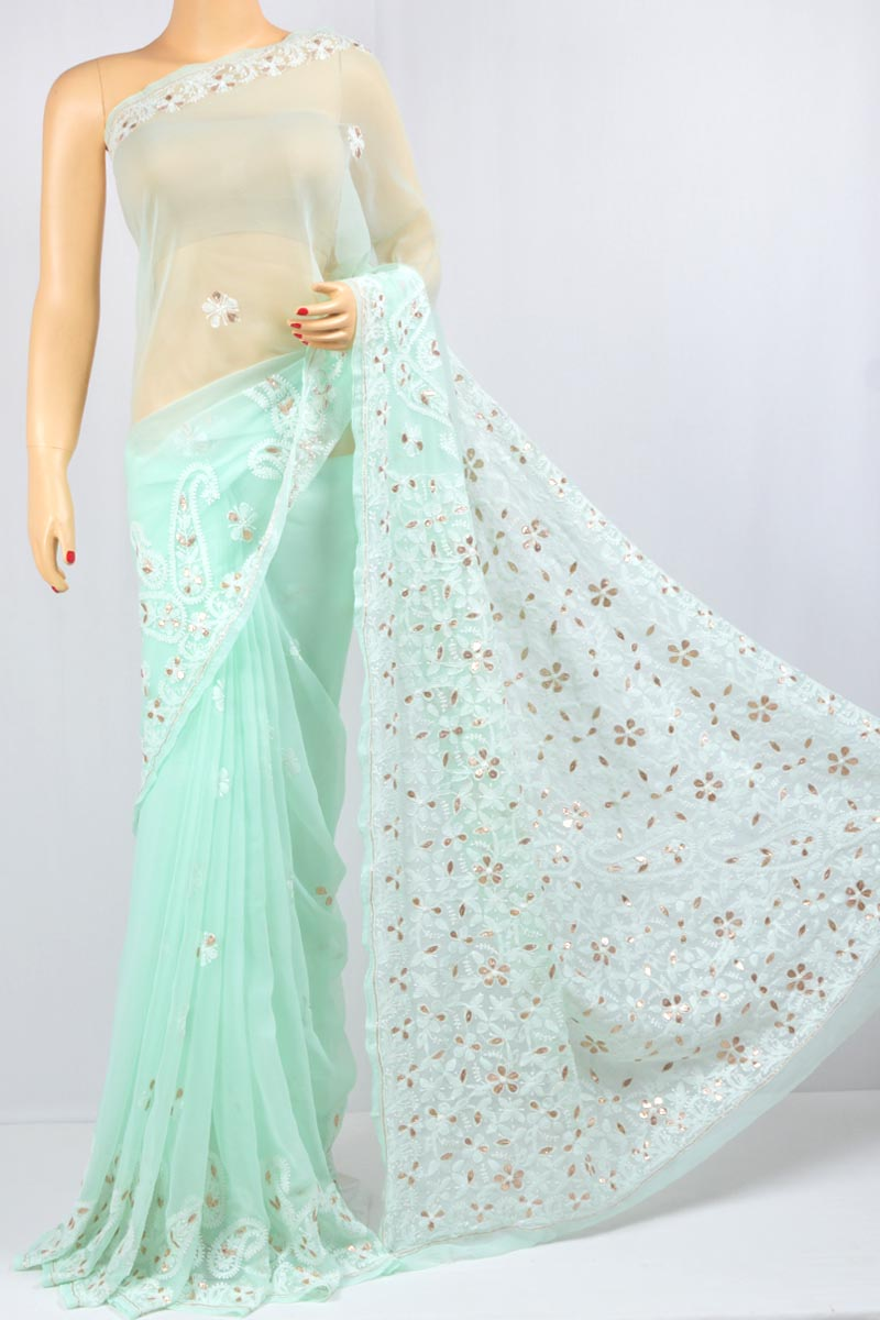Sea Green Color Gota Patti Hand Embroidered Lucknowi Chikankari Saree (With Blouse - Georgette) MC250096