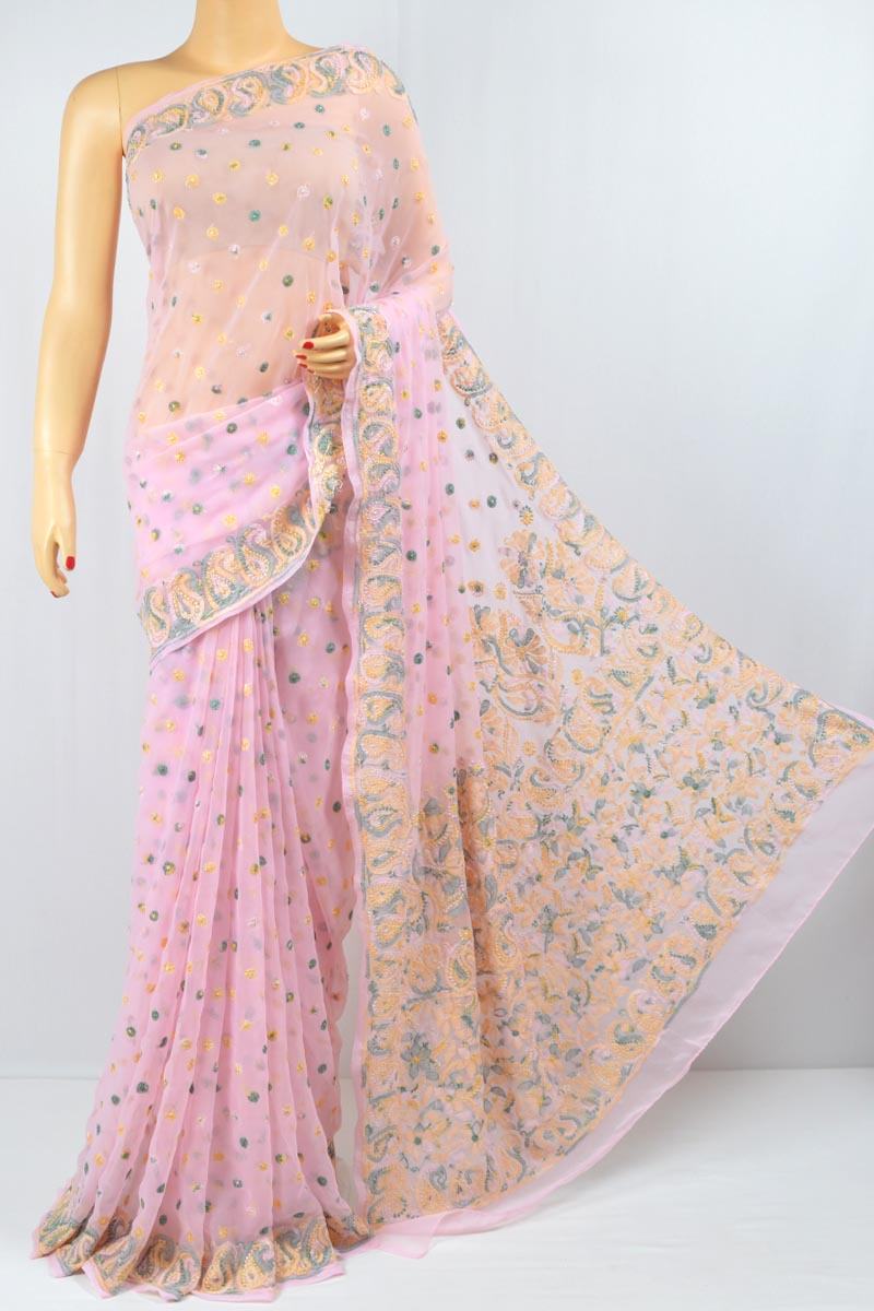 Pink Color Resham Work, Allover Booty Work, Lucknowi Chikankari Saree (With Blouse - Georgette) MC250069