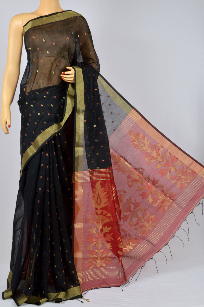 Black Color Soft Dhakai Jamdani Handwoven Bengal Handloom Kora Silk Special Handmade Designer Pallu Saree (Without Blouse) - MY250131