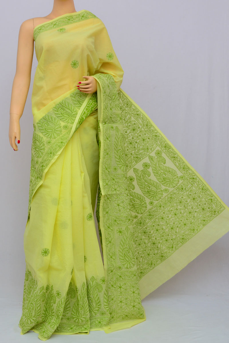 Lemon Hand Embroidered Lucknowi Chikankari Saree (With Blouse - Cotton) HS250297