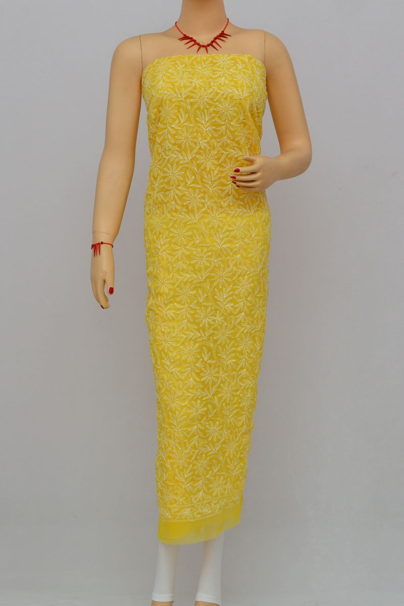 Yellow Allover Hand Embroidered Lucknowi Chikankari Kurti (georgette) Hs250287