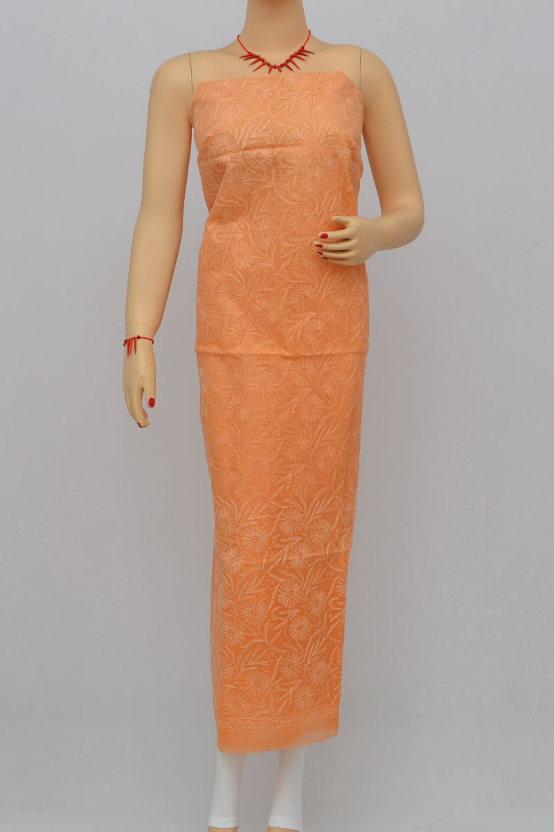 Orange Allover Tepchi Hand Embroidered Lucknowi Chikankari Shaded Kurti (georgette) My250289