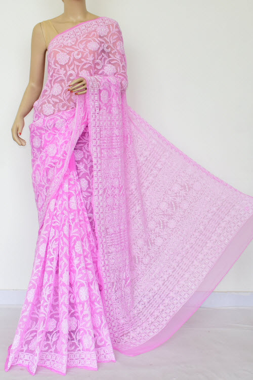 Pink Colour Embroidered Lucknowi Chikankari Saree (Georgette-With Blouse) 14873