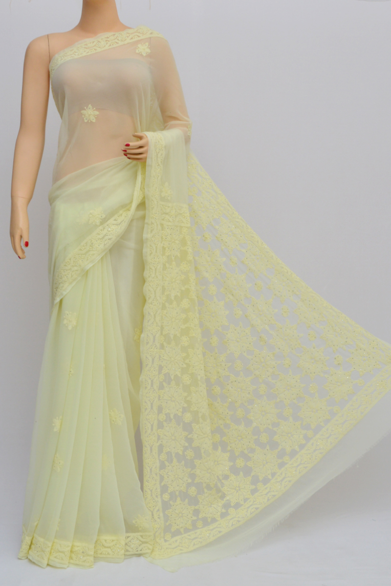Light Yellow Hand Embroidered Work Lucknowi Chikankari Saree(With Blouse - Georgette) MY250561