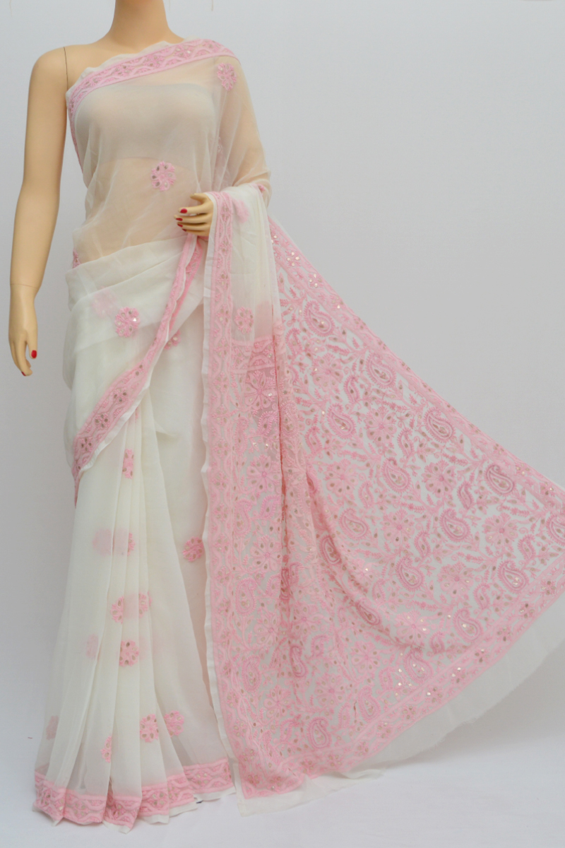 Whitepink Color Hand Embroidered Work Lucknowi Chikankari Saree With Mukaish Work (with Blouse - Georgette) My250562