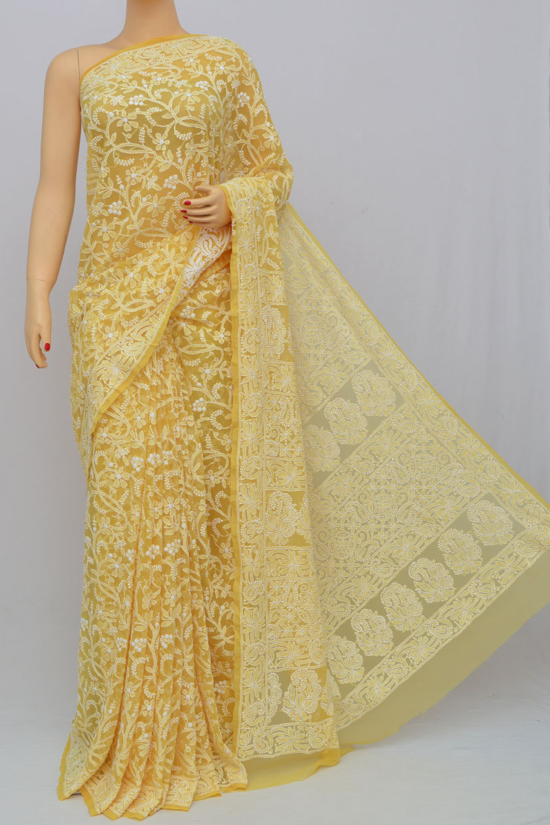 Laguna Color Allover Jaal Heavy Palla Hand Embroidered Lucknowi Chikankari Saree (With Blouse - Georgette) SS250214