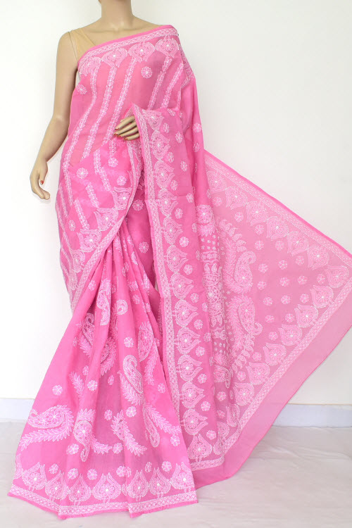 Pink Hand Embroidered Lucknowi Chikankari Saree (Cotton-With Blouse) 14784
