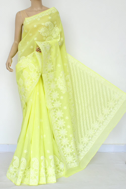 Yellow Hand Embroidered Lucknowi Chikankari Saree (Cotton-With Blouse) 14786