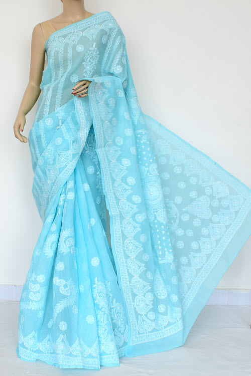 Blue Hand Embroidered Lucknowi Chikankari Saree (Cotton-With Blouse) 14789