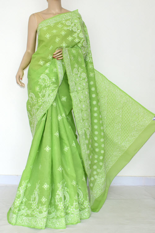 Green Hand Embroidered Lucknowi Chikankari Saree (Cotton-With Blouse) 14794