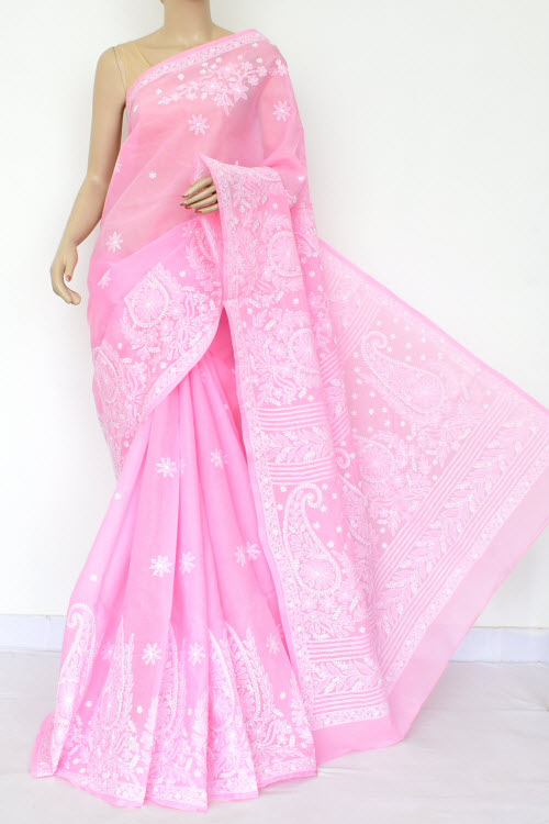 Pink Hand Embroidered Lucknowi Chikankari Saree (Cotton-With Blouse) 14804