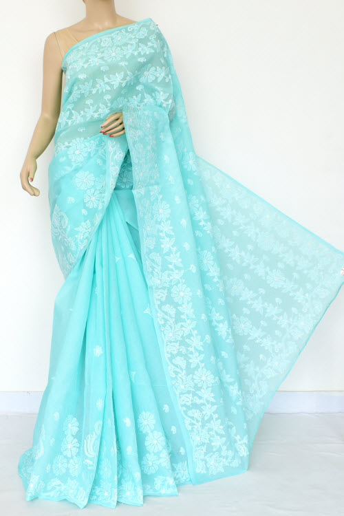 Blue Hand Embroidered Lucknowi Chikankari Saree (Cotton-With Blouse) 14819