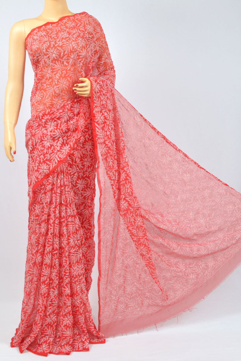 Red Color Allover Tepchi Work Hand Embroidered Lucknowi Chikankari Saree (With Blouse - Georgette) MC250110