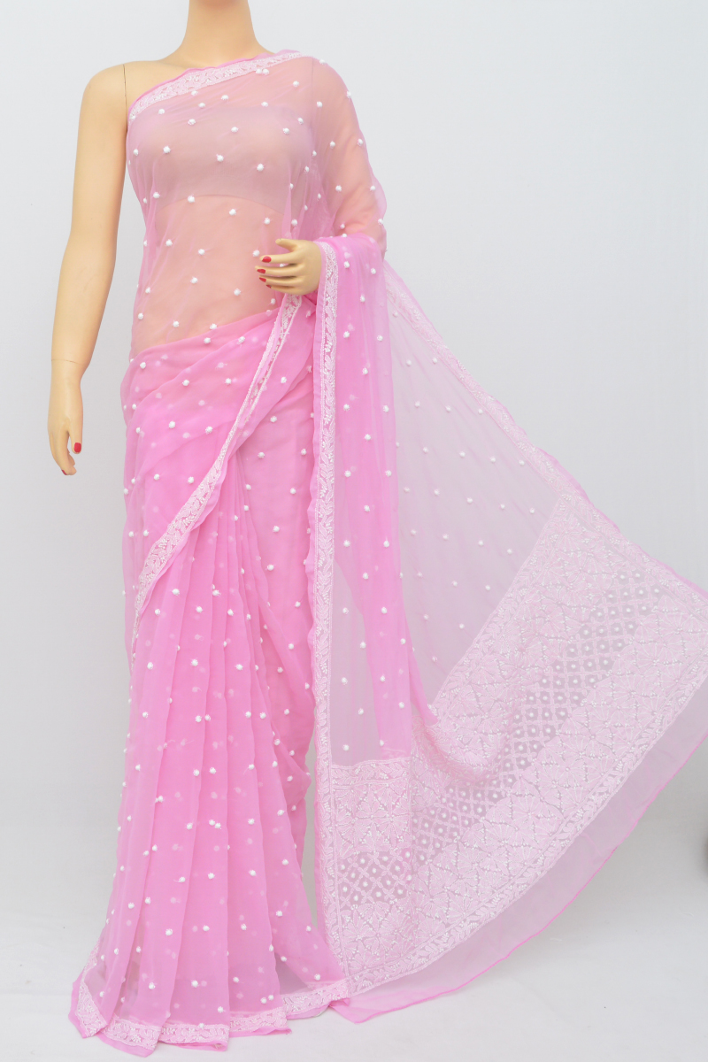 Onion Color, Allover Keel Jaal Work Lucknowi Chikankari Saree (With Blouse - Georgette) SS250538
