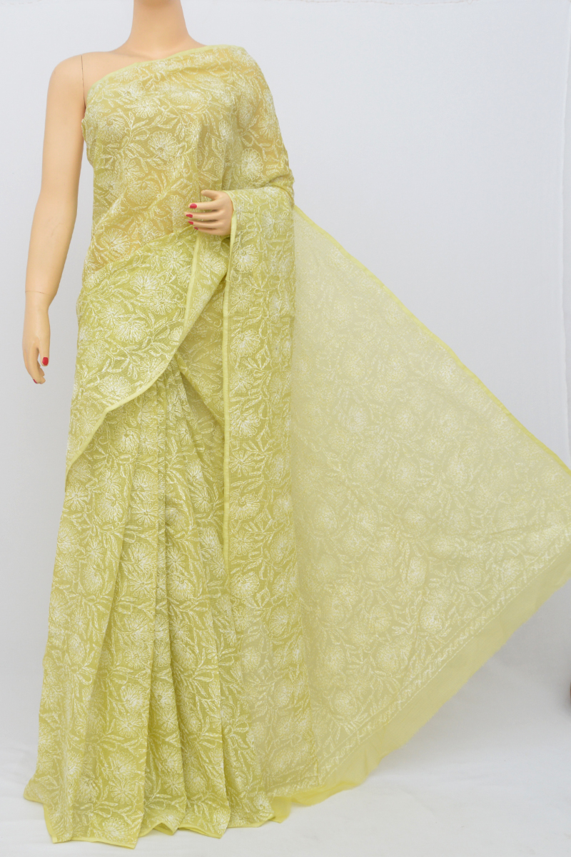 Green Color Kota Cotton Tepchi Work Hand Embroidered Lucknowi Chikankari Saree (Without Blouse) SS250540