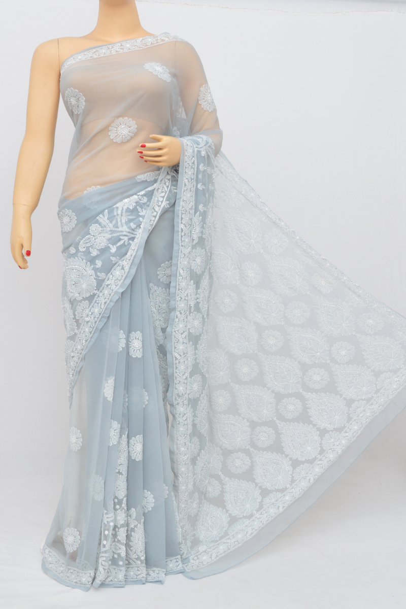 Grey Color Designer Hand Embroidered Lucknowi Chikankari Saree (With Blouse - Georgette) SS250541
