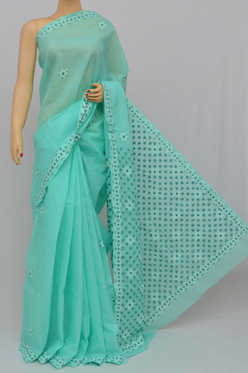 Sea Green Color Hand Embroidered Lucknowi Chikankari Saree (With Blouse - Cotton) SS250310