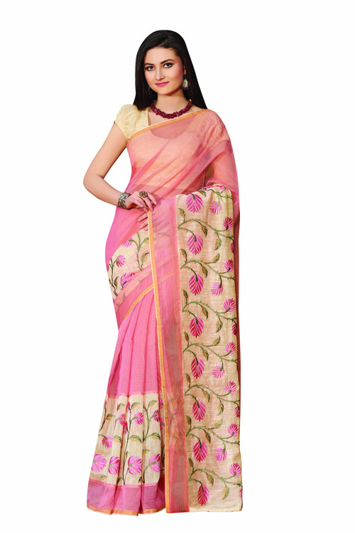 Pink-cream Supernet Checks Saree With Cream Color Blouse