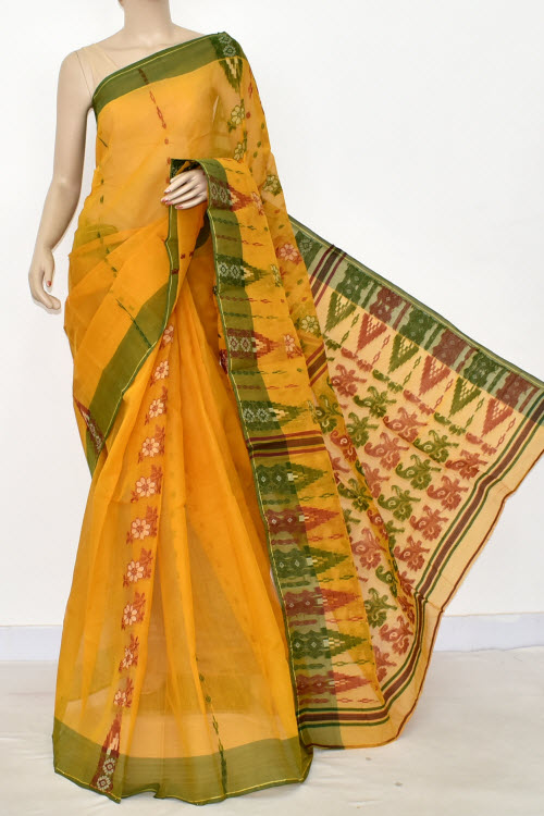 Golden Yellow Handwoven Bengal Tant Cotton Saree (without Blouse) 14159