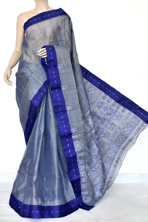 Blue Handwoven Bengal Tant Cotton Saree (Without Blouse) Allover Fine Embroidered 17038