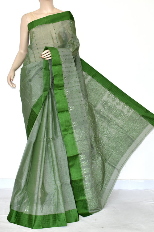 Menhdi Green Handwoven Bengal Tant Cotton Saree (Without Blouse) Allover Fine Embroidered 17039