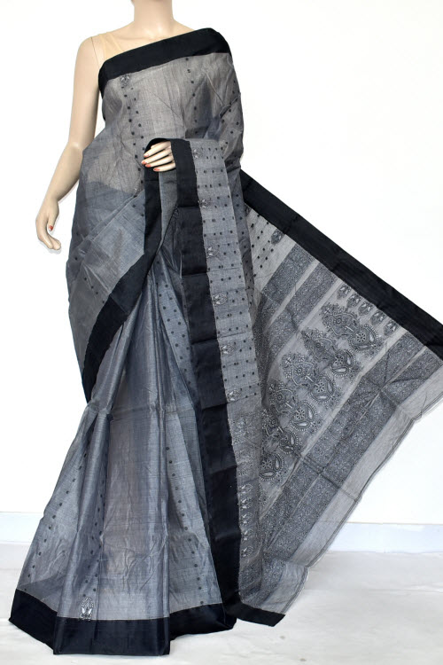 Grey Handwoven Bengal Tant Cotton Saree (without Blouse) Allover Fine Embroidered 17041